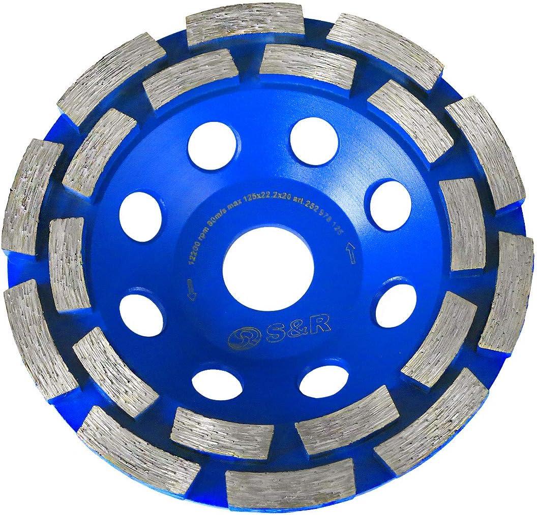 S&R Disco Desbaste Diamante 125 x 22,23 mm para Hormigón, Granito, Piedra, Mampostería, 2 filas. Muela para amoladoras angulares. Calidad Profesional