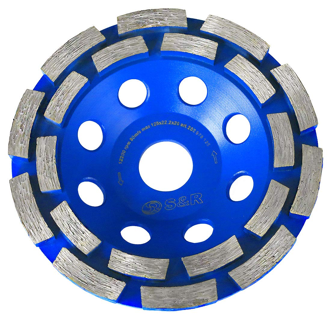 S&R Muela Disco diamante 125 para desbaste Hormigón Granito Piedra Mampostería, 2 filas. Profesional para amoladora angular.