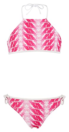 af9350f8193 Snapper Rock Little Girls' Halter Bikini Swimsuit, Fuchsia Feathers, ...