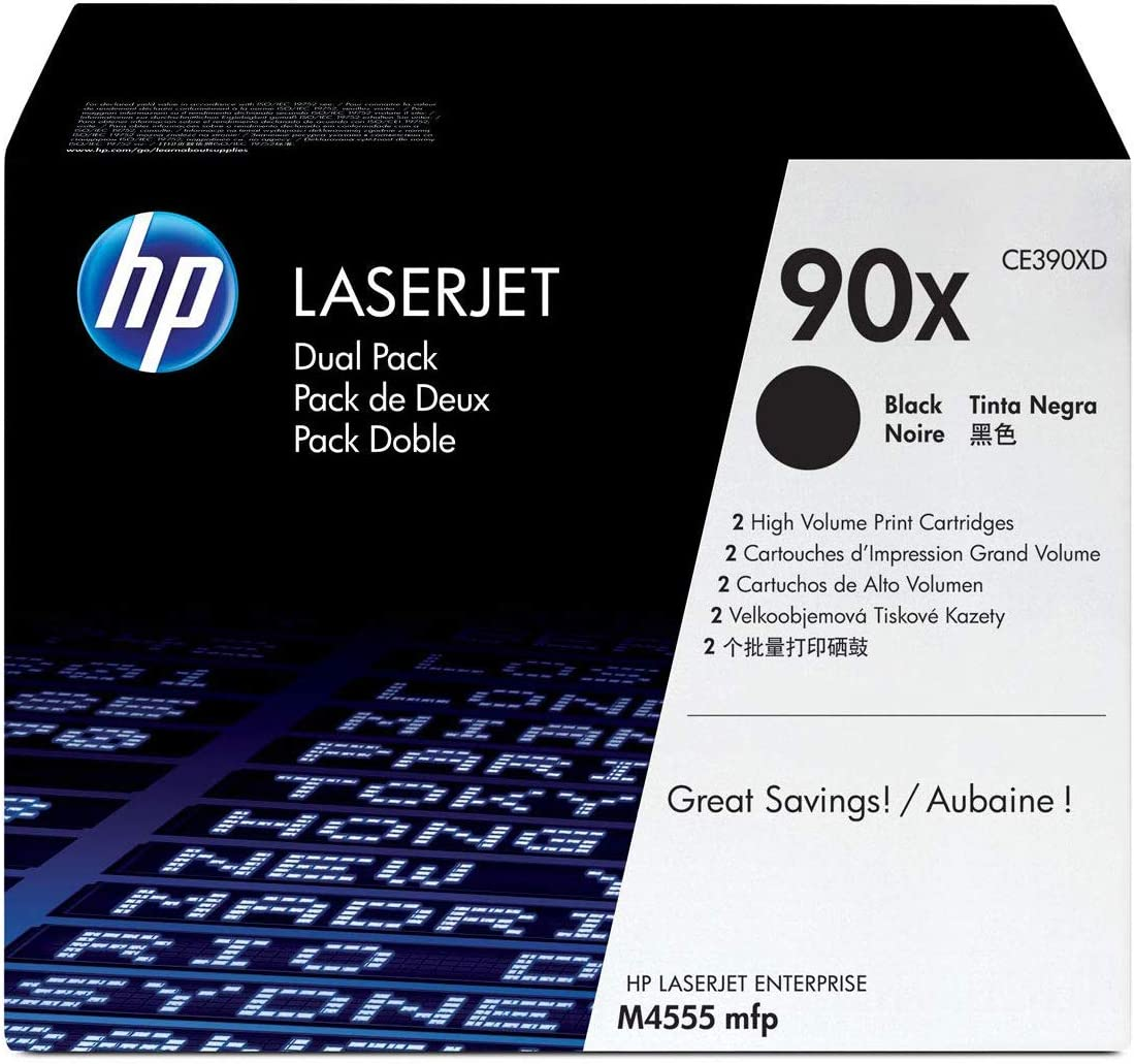 HP 90X | CE390XD | 2 Toner Cartridges | Black | High Yield