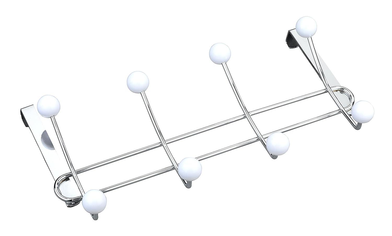 Wenko 22679100 Tü rgarderobe Lissa - Hakenleiste mit 8 Haken, fü r Tü rfalzstä rken bis 2 cm, Stahl, 35 x 18 x 6,5 cm, Chrom