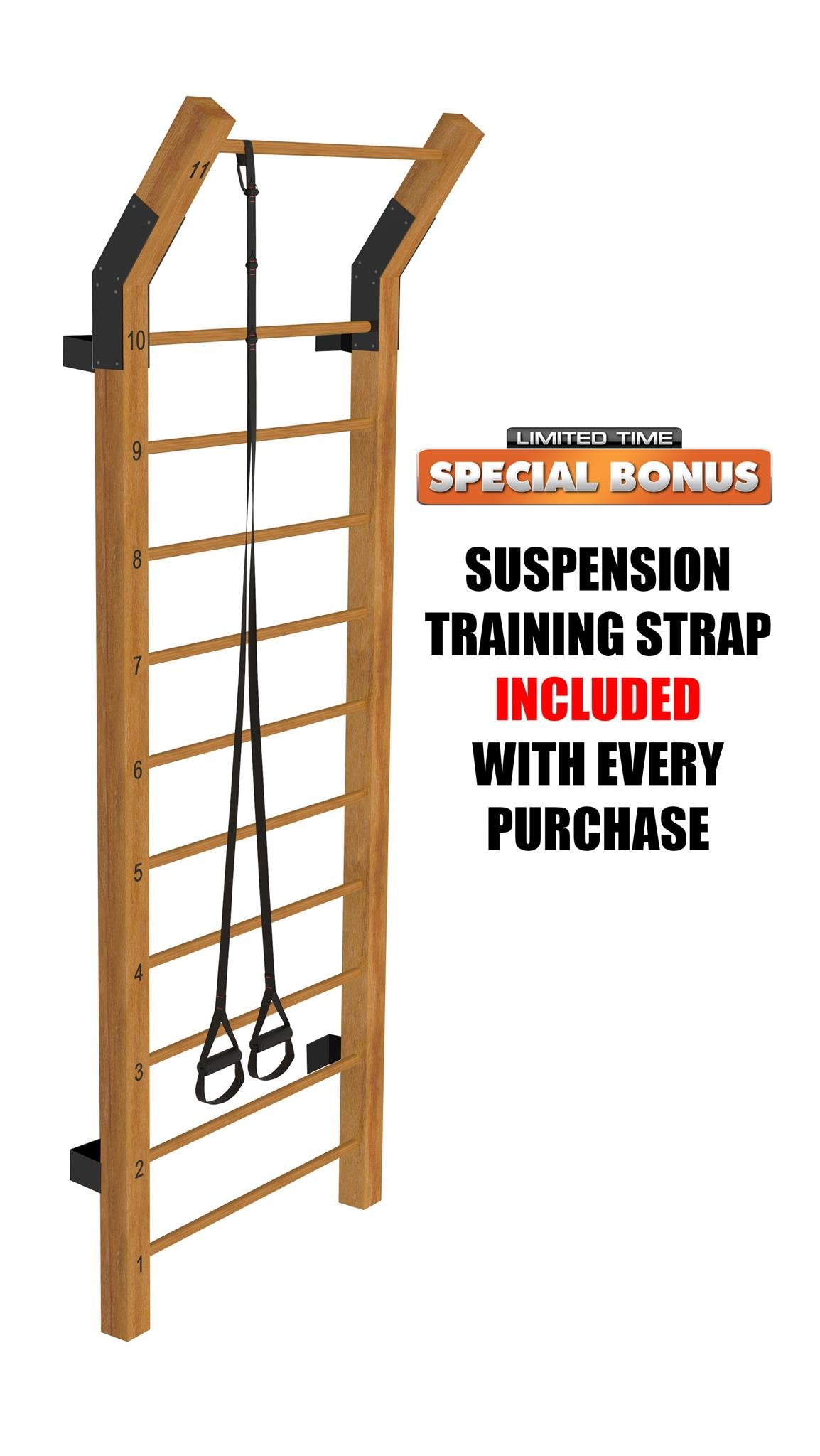 Limitless XVP Fitness Swedish Ladder Wood Stall Bar Suspension Trainer - Physical Therapy & Gymnastics Ladder w/ 11 Strategic Rods - Ideal for Back Pain Scoliosis Exercise Equipment & Range of Motion
