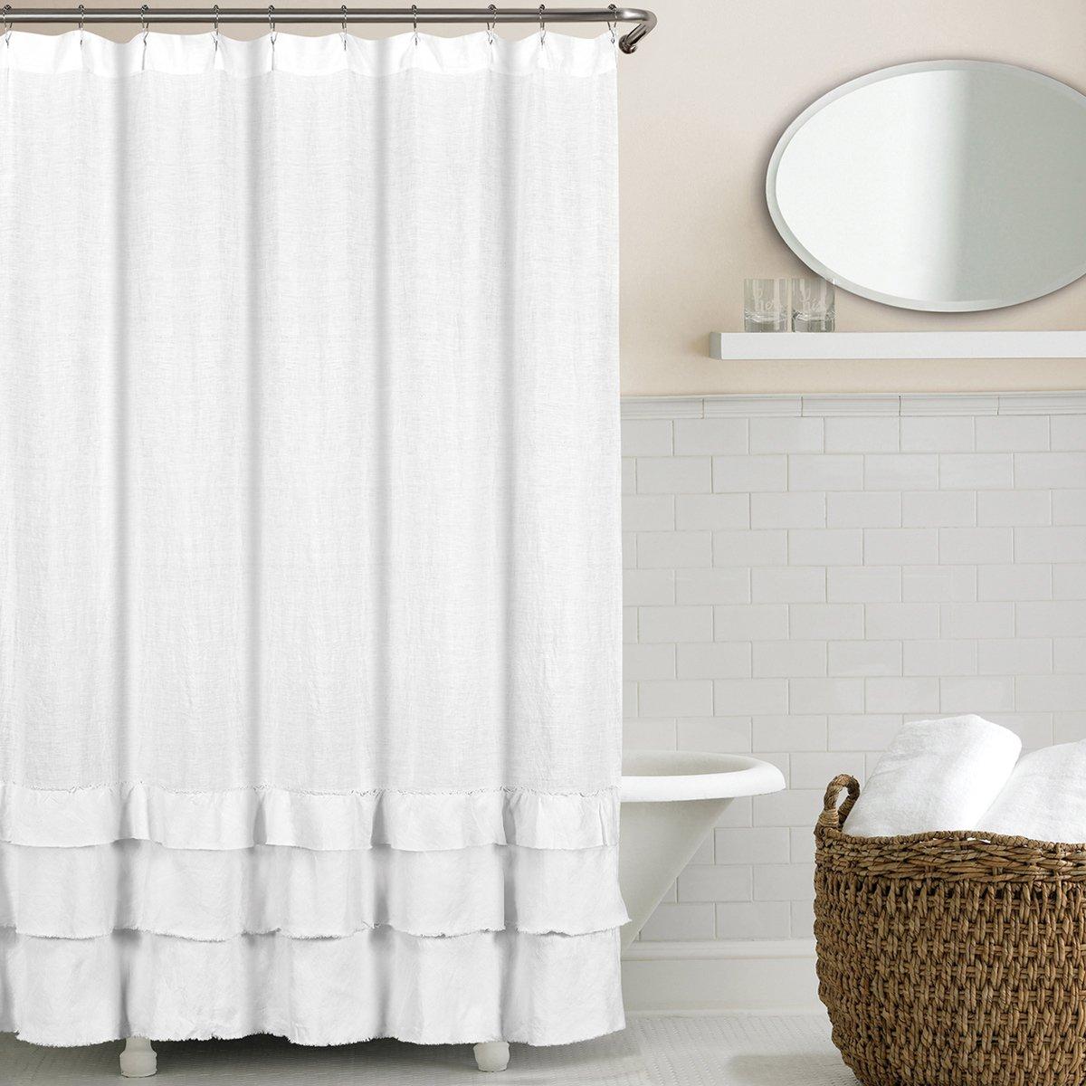 Echelon Home Ruffled Washed Belgian Linen Shower Curtain White