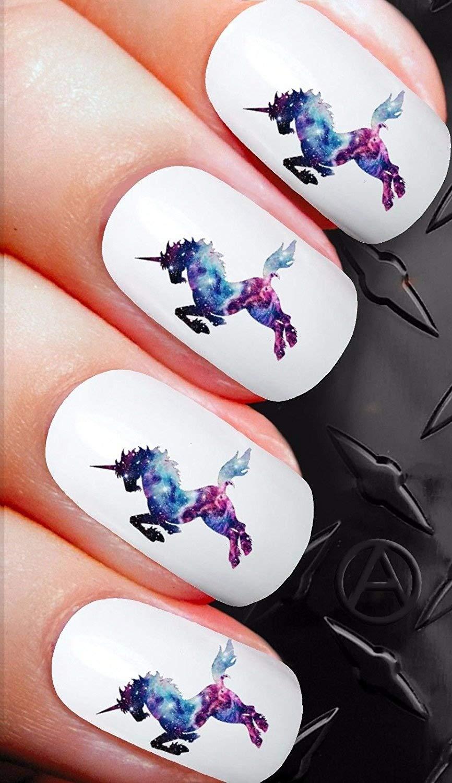 Stickers pour ongles X 20Nail Art de transfert Stickers pour ongles–Galaxy Pegasus Licorne Fantasy.–Qualité Salon Stickers pour ongles c c