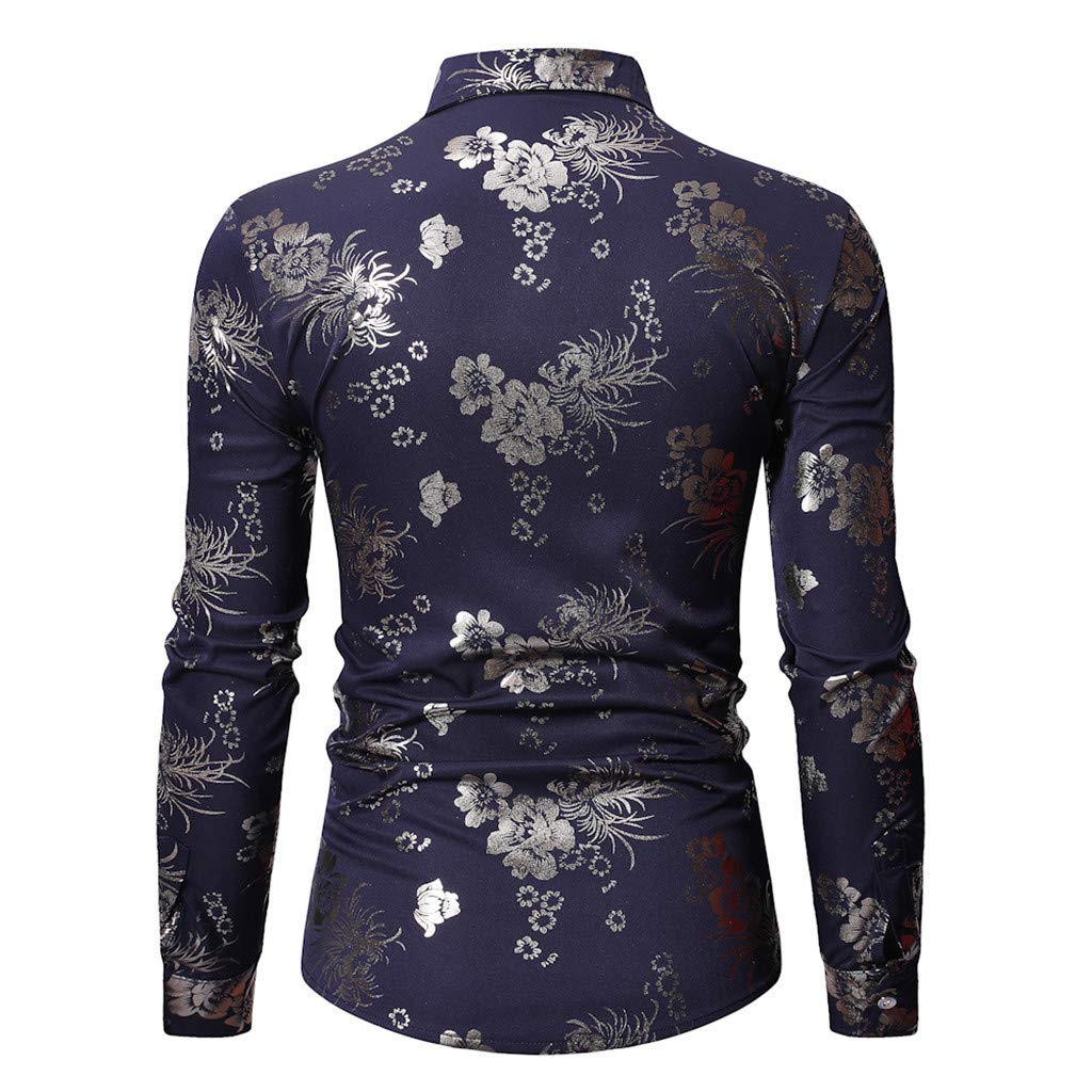 Eoeth Fashion Mens Long Sleeve Printed Shirts Male Casual Business Button Down Collar Blouse