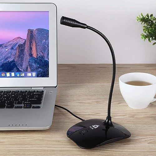KLIM Talk - Microphone USB à Pied pour PC et Mac - Compatible avec Tout Ordinateur - Micro de Bureau Professionnel - Haute Qualité Audio [ Nouvelle 2019 Version ] Noir