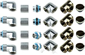 """BXQINLENX 24 PCS Silver Chrome G1/4"""" Plug Fittings for Computer Water Cooling System (Silver)"""