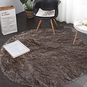 ANswet Area Rugs Soft Fluffy Living Room Carpets for Children Bedroom Nursery Rug Washable Floor Mat 4.75 inch Light Brown