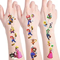 4 sheets Super Mario Temporary Tattoos for Super Mario Birthday Party Supplies Decorations