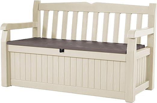 Keter - Banco baúl de resina efecto madera blanco para jardín ...