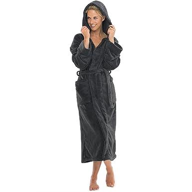 4e2de6cd469f65 aqua-textil Bademantel mit Kapuze Damen Herren Morgenmantel weich und super  flauschig, Coral Fleece