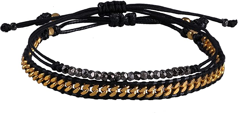 KELITCH 2 pcs//Set Stainless Steel Chain Waxed Cord Bracelet and Adjustable Thin String Rope