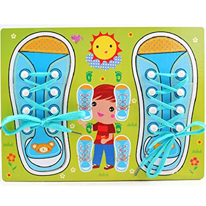Amazoncom Novobey Wooden Shoe Laces Board Pegged Puzzles Learn To
