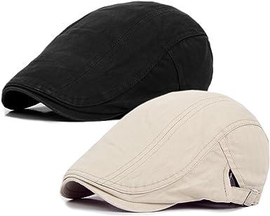 Oferta amazon: Decstore Paquete de 2 Hombres Beret de Algodón Plano Tapa Ivy Cabbie Newsboy Hat Otoño Verano Sombrero