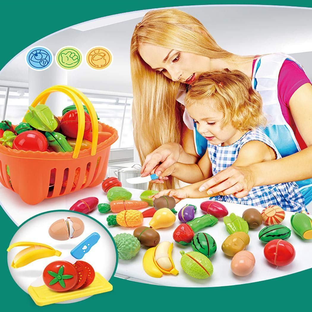 erholi Kitchen Pretend Play Toys Fruit Food Cutting Toys Set Kids Educational Gifts Kitchen Playsets by erholi