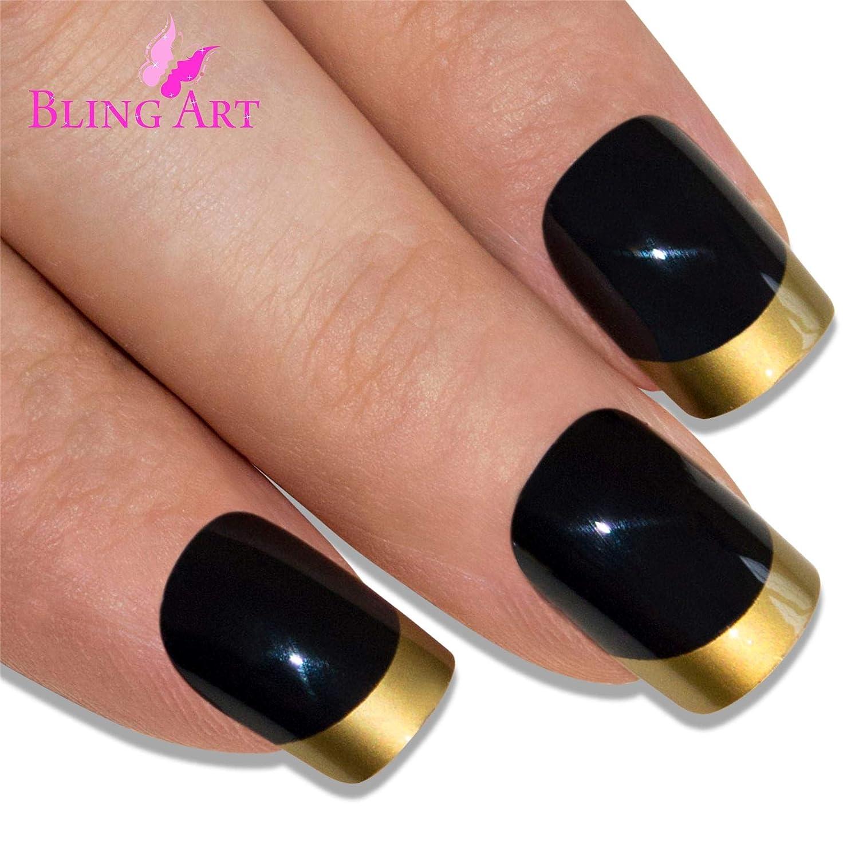 Uñas Postizas Bling Art Oro Negro Pulido 24 Squoval Medio Falsas puntas acrílicas con pegamento: Amazon.es: Belleza