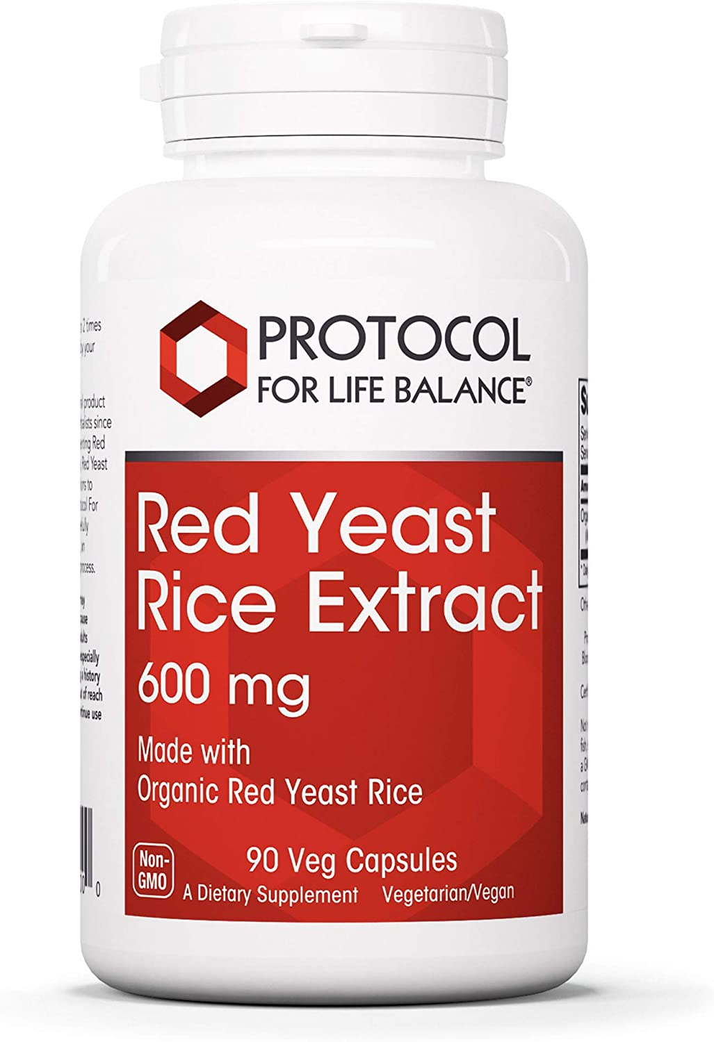 Protocol For Life Balance - Red Yeast Rice Extract 600 mg - Traditional Supplement Used for Cardiovascular Support and Healthy Cholesterol Promotion - 90 Veg Capsules: Health & Personal Care