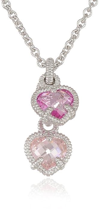 Amazon judith ripka linen silver twin heart pink pendant judith ripka linen silver twin heart pink pendant necklace 17quot aloadofball Images