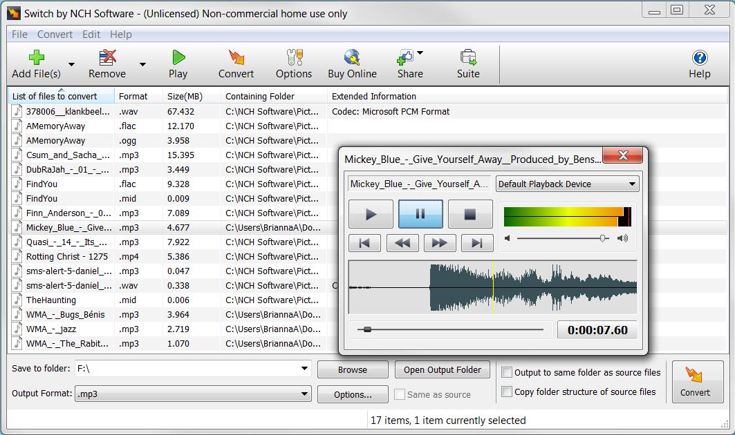 Switch Free Audio File Converter – Converts MP3, WAV, WMA