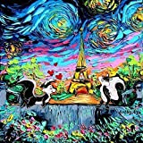 Pepe Le Pew Art - Looney Tunes Inspired Paris Starry Night - Cartoon Art - PRINT - van Gogh Never Earned His Stripes - Art by Aja 8x8, 10x10, 12x12, 20x20, 24x24 inches