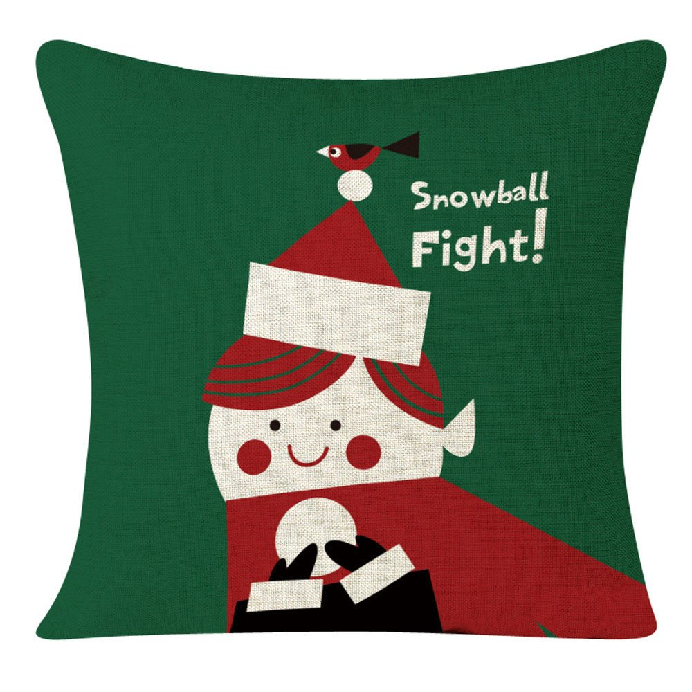 Pgojuni Christmas Series Pillowcase Linen Decoration Throw Pillow Cover Cushion Cover Pillow Case for Sofa/Couch 1pc (D)