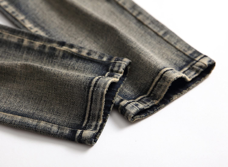 Sarriben Mens Retro Ripped Pleated Detail Zip Slim Fit Biker Jeans Distressing Grey