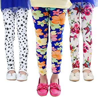 Z-Chen 3 Pares de Pantalones Leggings para Niñas Chicas Estampado de Flores
