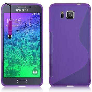 Samsung Galaxy Alpha SM-G850F Caso HCN PHONE S-Line TPU Gel Silicona Carcasa flexible para Samsung Galaxy Alpha sm-g850f - PÚRPURA + mini lápiz óptico
