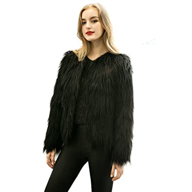 e6a7130dcc9 Caracilia Women Winter Warm Fluffy Faux Fur Coat Jacket Black Tag S 37/Short