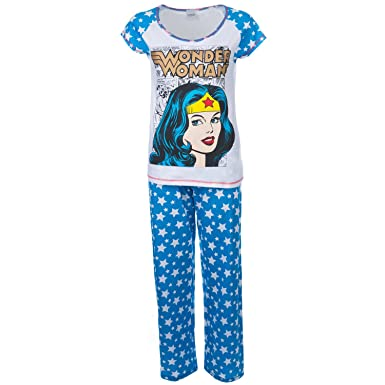 6e333722f6 Warner Bros Wonder Women Ladies Pyjamas Sizes UK to 24 Ladies PJs   Amazon.co.uk  Clothing