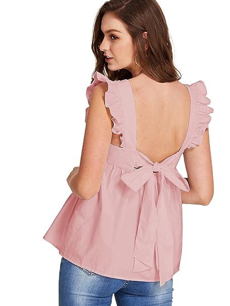 3f48ed36e911cc Romwe Women's Bow Tie Backless Ruffle Hem Peplum Babydoll Blouse Top Pink  X-Small at Amazon Women's Clothing store: