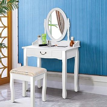 Giantex White Vanity Table Set with Stool, Dressing Table for Girls Women  Mirror Makeup Table Desk Room Vanity Dresser, Large Bedroom Vanities ...