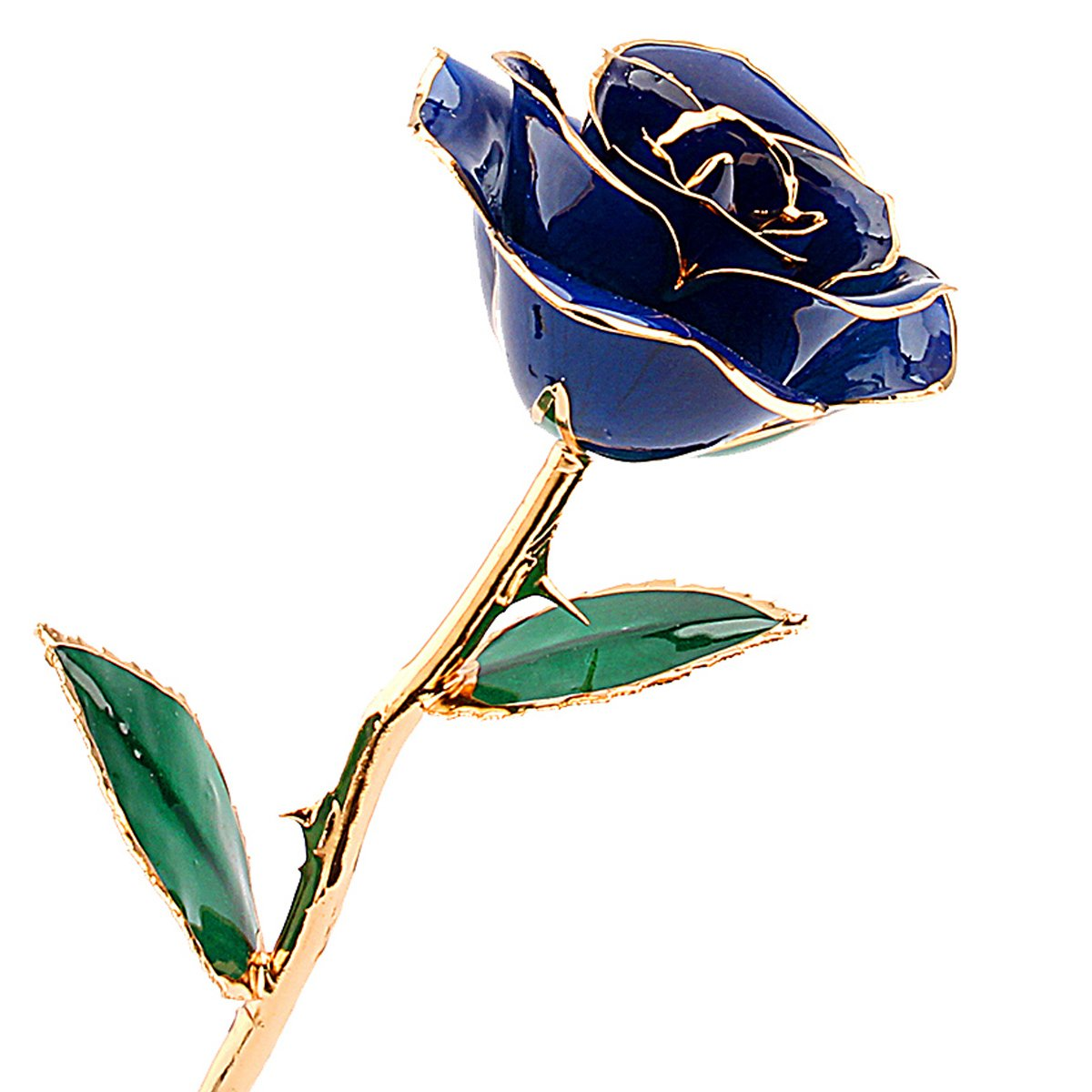 ZJchao Deep Blue Gold Rose for Women, Love Forever Long Stem Dipped 24k Foil Trim Rose, Best Gift for Valentine's/Mother's/Anniversary/Birthday Day (Blue)