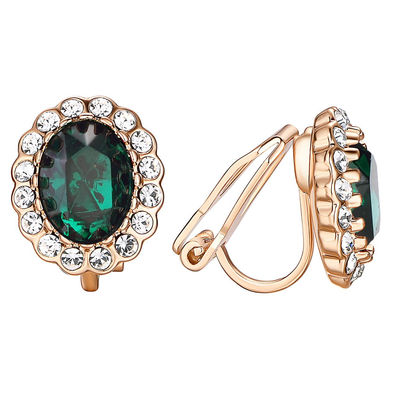 VOGEM Rose Gold Plated Sparkly Red Crystal & White Topaz Oval Halo Clip On Earrings For Women TCE1046