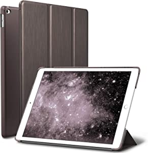 ROARTZ iPad Air 2 Case, Metallic Brown Slim Fit Smart Rubber Coated Folio Case Hard Shell Cover Light-Weight Auto Wake/Sleep for Apple iPad Air 2nd Generation A1566/A1567 Retina Display