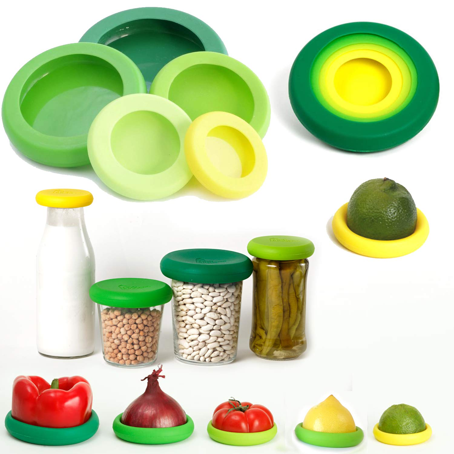Food Huggers Reusable Silicone Covers Fruit Vegetable Jars Bottles Tins Cans Savers Storage Holder Keep Fresh Flexible Sleeve Lid (Set of 5 Fresh Greens )