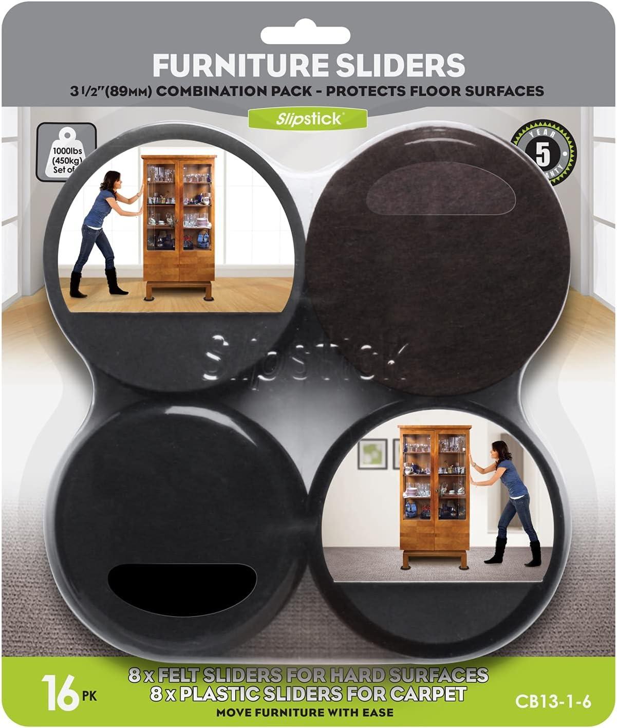 "Slipstick Premium Furniture Sliders for All Floor Surfaces (16 Piece Moving Kit) Reusable 3.5"" Round Furniture Movers for Sliding Furniture on Hardwood & Carpet, Black, CB13-1-16"