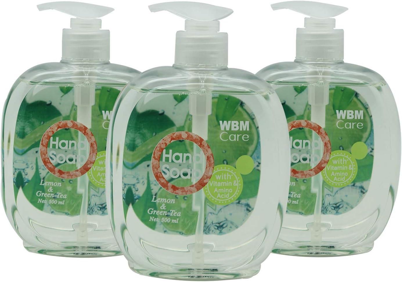 WBM LLC 8651-3PK, Lemon Green Hand Soap, 500 ml, 17.5 fl oz, Lemon & Green Tea (3-Pack), 52 Ounce