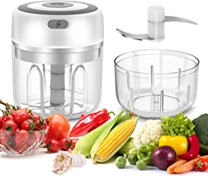JESTOP Electric Mini Garlic Chopper, 2 Cup Portable Garlic Blender Chopper, 250&100ml, Food Processor for Pepper Chili Vegetable Nuts Meat, Food Slicer and Chopper, White