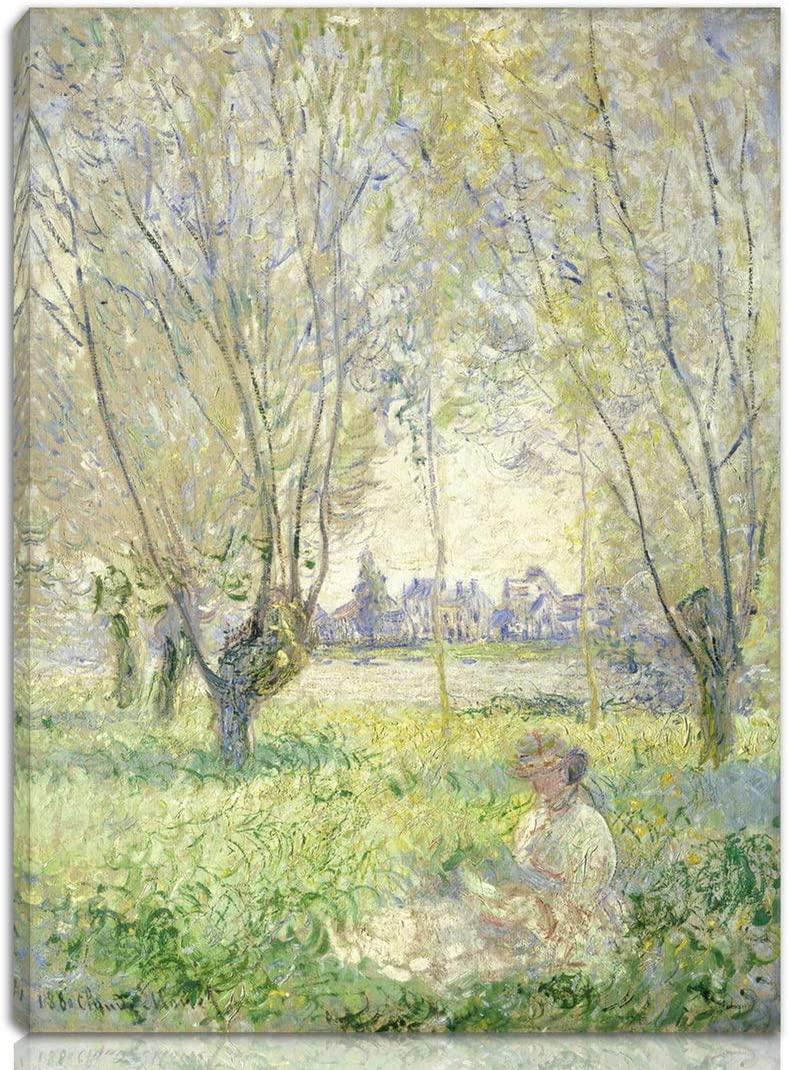 Berkin Arts Claude Monet Stretched Giclee Print On Canvas-Famous Paintings Fine Art Poster-Reproduction Wall Decor Ready to Hang(Woman Seated Under The Willows)#NK