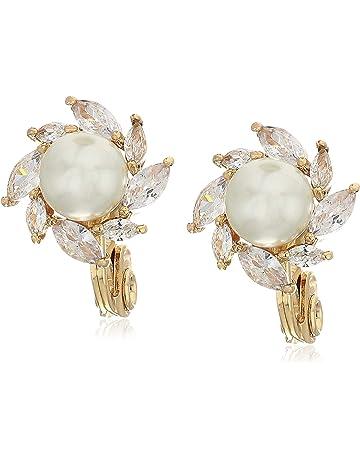 6da5fd08dd2fb Anne Klein Women s Gold Pearl Halo Clip Earrings