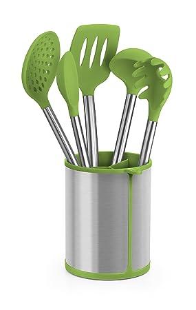 Compra BRA Prior Conjunto de 5 Utensilios de Cocina y carrusel Compuesto Aptos para el Contacto con los Alimentos, Acero Inoxidable, Verde, 14.5x15x37.5 cm ...