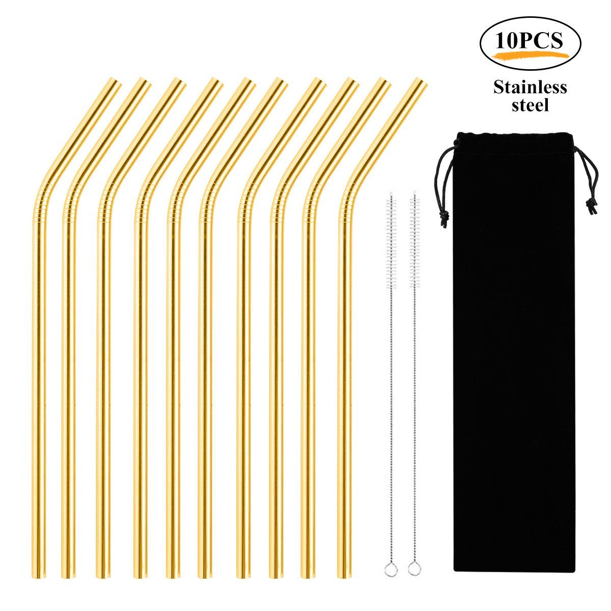 Stainless Steel Straws, LEEGOAL 10Pcs Reusable Straws Metal Drinking Straws Eco-Friendly Long Bent Straws for 20oz Tumblers Cups Mugs Cold Beverage with 2 Cleaning Brushes and Carry Bag, Gold