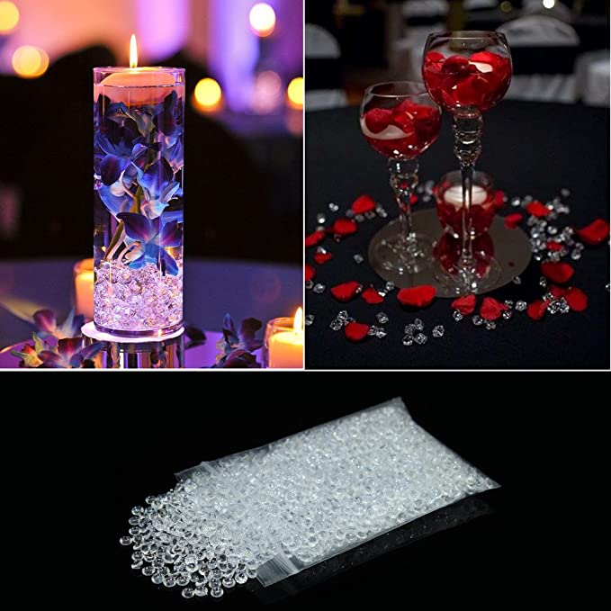 Bitfly diamantes de acrílico de decoración para boda, fiesta de cumpleaños, cristales decorativos, Decoración de jarrón de flor, peces, jardín, Azul Real, ...