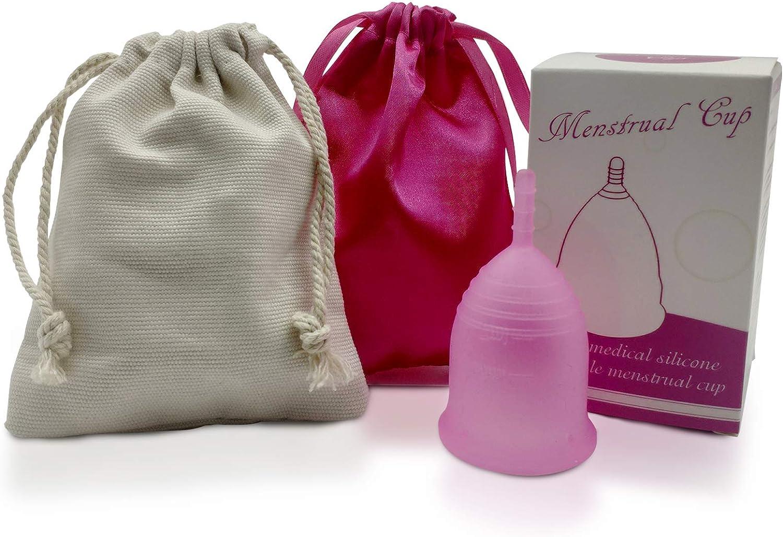 Elecci/ón de Tallas S//L Copa de Silicona Suave de Grado M/édico Estuche Copa Menstrual S, Bolsa de Seda Rosa Copa Menstrual