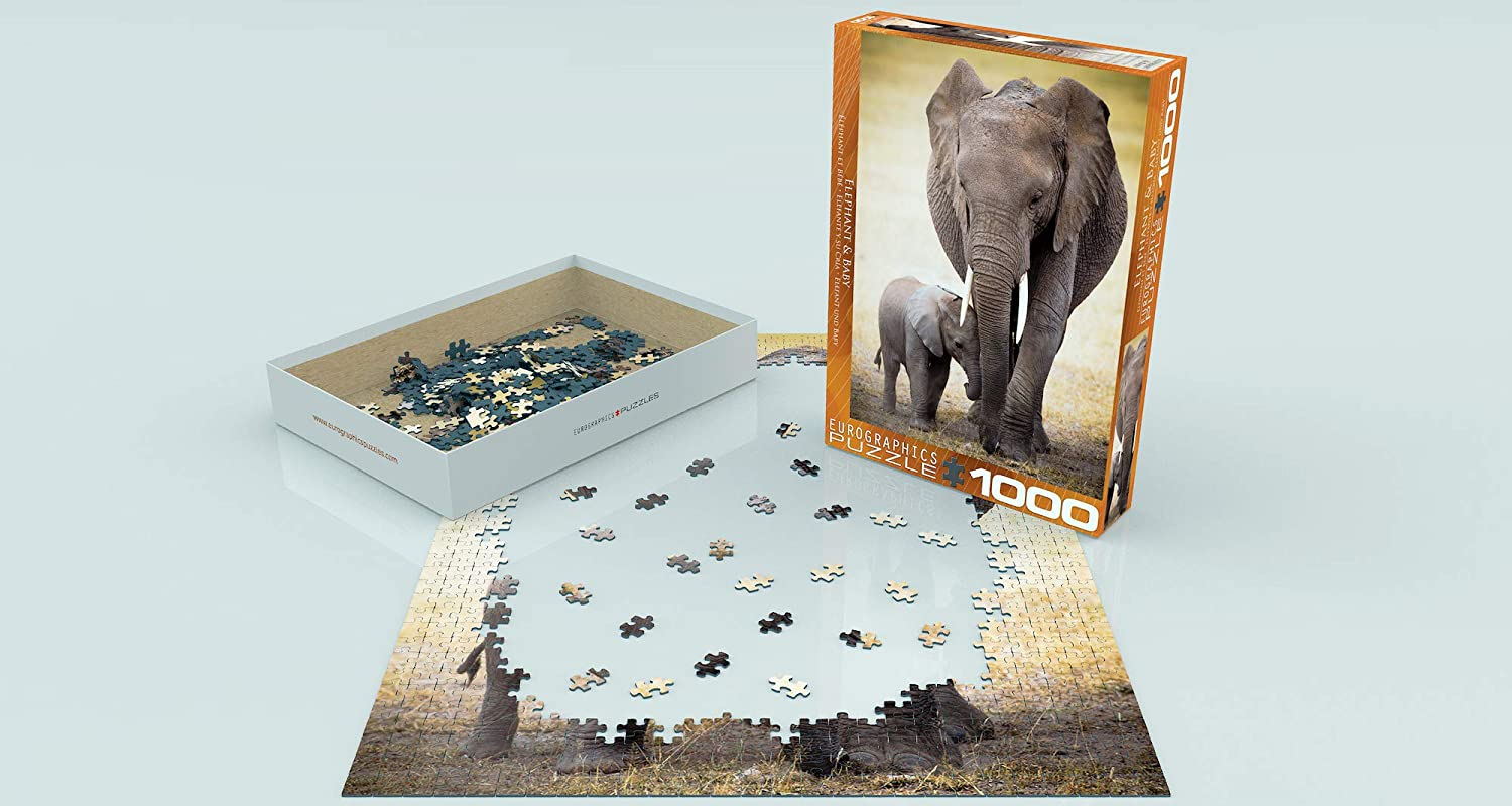1000 Pieces EuroGraphics Elephant and Ba by Puzzle