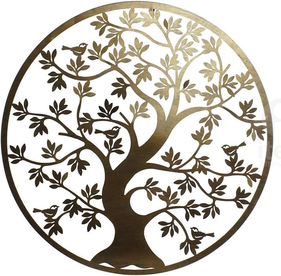Decoración Pared árbol de la Vida Metal 40x40 cm (Dorado Torcido)