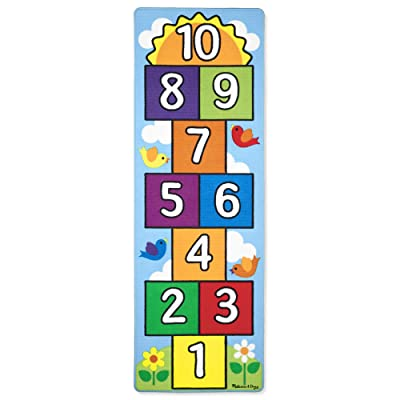Melissa & Doug Hop & Count Hopscotch Rug (Play Space & Room Decor, Sturdy Woven Floor Rug, Durable Materials, Skid-Proof Backing, Great Gift for Girls and Boys - Best for 3, 4, 5, 6, and 7 Year Olds): Toys & Games