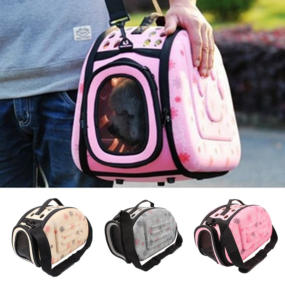 Foldable Pet Dog Cat Carrier Cage Collapsible Travel Kennel - Portable Pet Carrier Outdoor Shoulder Bag for Puppy Dog Cat Small Medium Large Animal (Champagne) Sue Supply