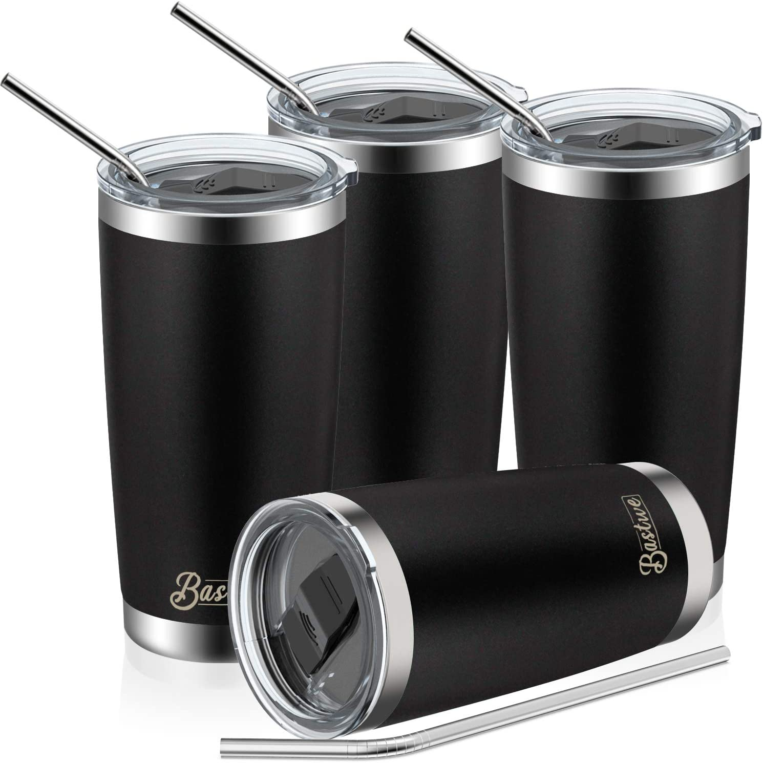 4 Pack 20oz Vacuum Insulated Tumblers, Bastwe Double Wall Stainless Steel Travel Mug with Lid and Straw for Home, Office, School, Works Great for Ice Drink, Hot Beverage (Black)
